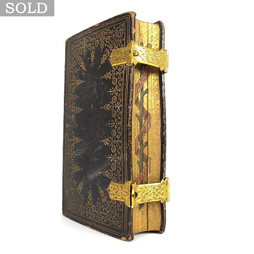 Antique 1840 Tooled Leather & Gilt Painted Common Prayer Book