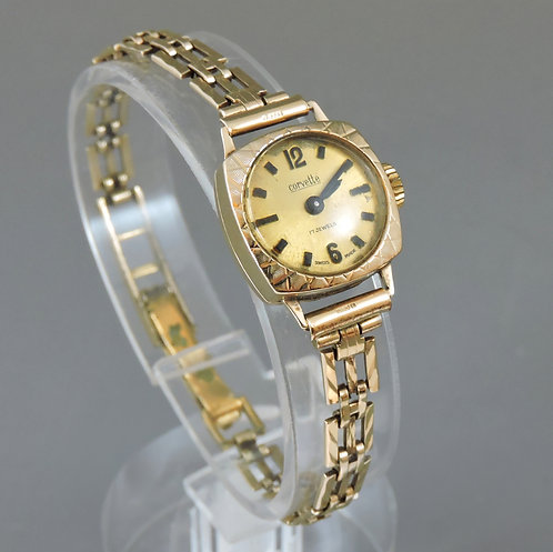 Ladies 9ct Gold Cased Corvett Wrist Watch on 9ct Gold Strap