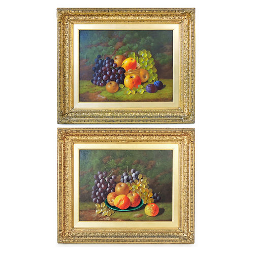 A Pair of 19th Century Fruit Still Life Oil Paintings by George Crisp 1828 -1914