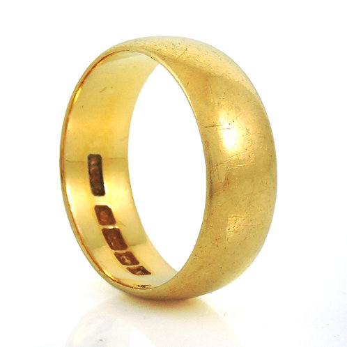 Vintage George V 22ct Wedding Ring - 4.8g - Size J - Birmingham 1922