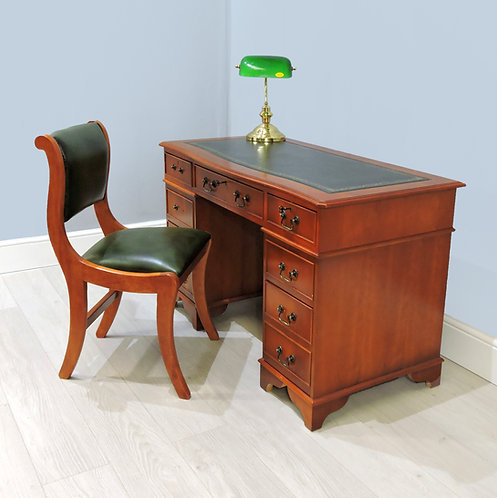 Georgian Antique Style Yew Green Leather Pedestal Desk, Chair & Lamp