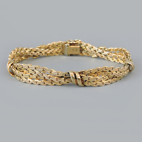 Superb Vintage 9ct Gold Textured Multi-Strand Bracelet – 25.2g