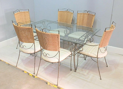 Quality Wrought Iron & Bevelled Edge Glass Top Table & Six Dining Chairs