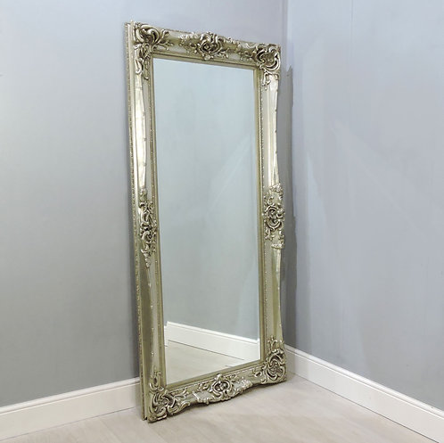 Large French Louis Style Silver Framed Wall Leaner Mirror,Ornately Carved 214cm