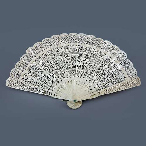 Antique Ox Bone Chinese Export Brise Hand Fan