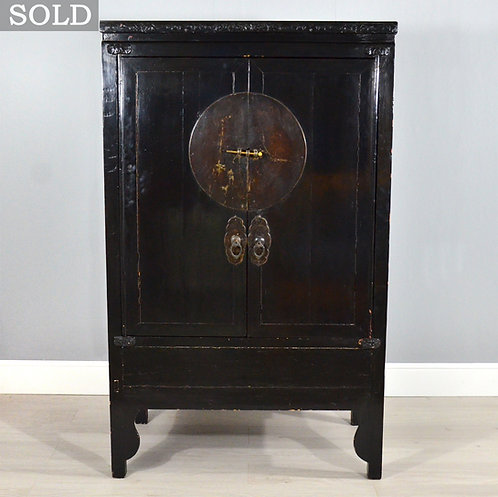 Antique Chinese Black Lacquered Wedding Chest / Cabinet