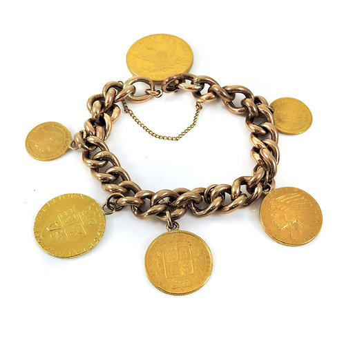 Fabulous Antique 9ct Rose Gold Bracelet with Six 22ct gold coins attached