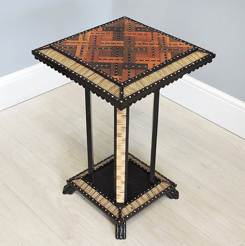 Antique 19th C. Ceylonese Porcupine Quill & Wood Occasional Table