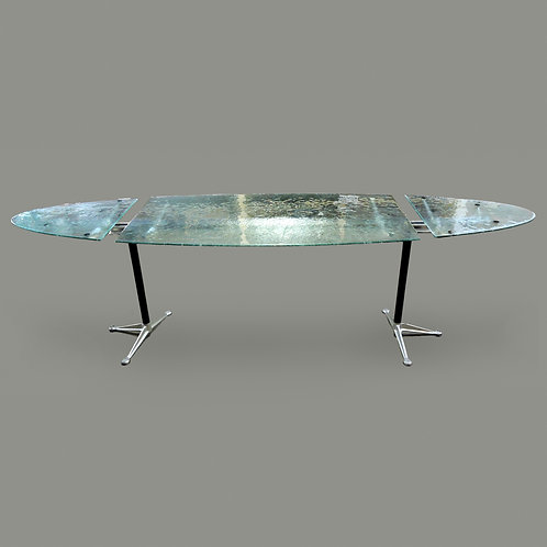 Large Frosted Glass Conference Table Designed by Burdick