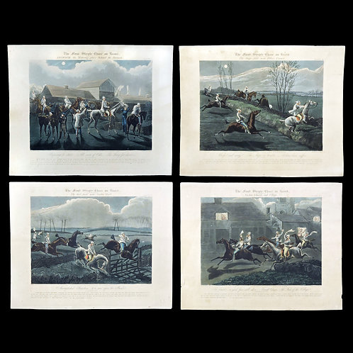 "Rare Set of Four Engravings Depicting ""The First Steeple Chase on Record"""