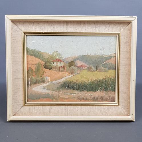 Anna Hornby 'Near Montespertoli, Italy' Landscape Oil Painting on Canvas