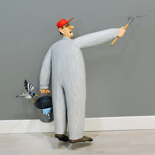 Stephen Hansen (b.1950) Unique Whimsical Papier Mache Sculpture - Window Cleaner