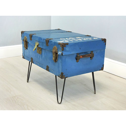 Vintage Blue Metal Steamer Travel Trunk Raised On Hairpin Legs - Coffee Table