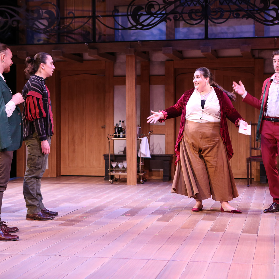 Maria, Sir Toby, Sir Andrew, and Fabian