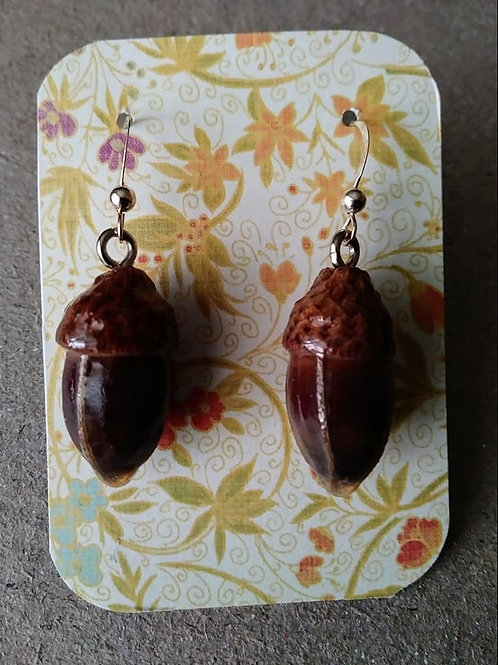 Real Acorn Earrings