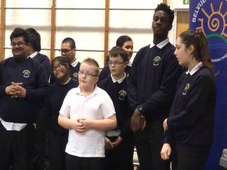 Choir entertain the School