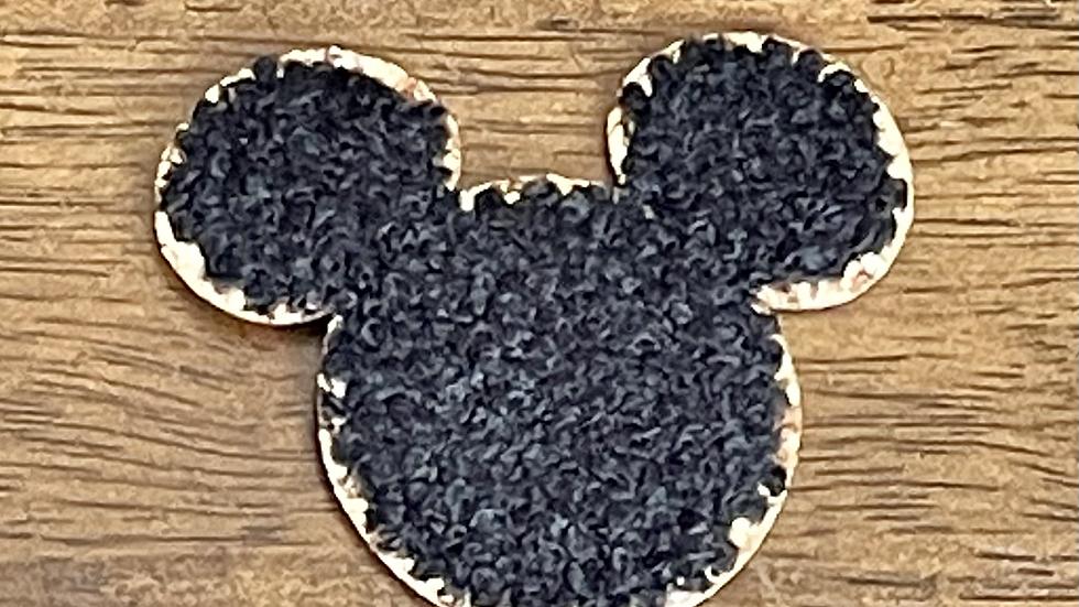 """Black Mickey Glitter Varsity Patch 2"""""""