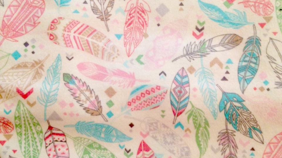 Pastel and Cream Feathers (Flannel)