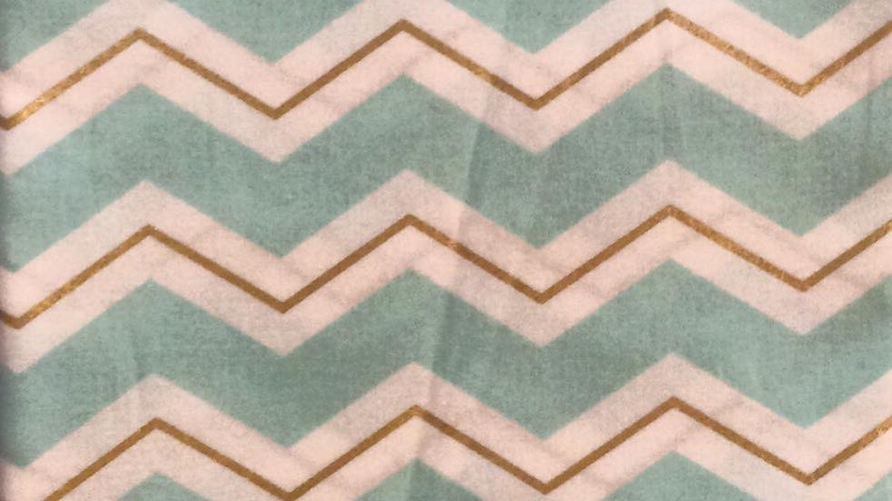 Baby Blue Chevron (with Gold)