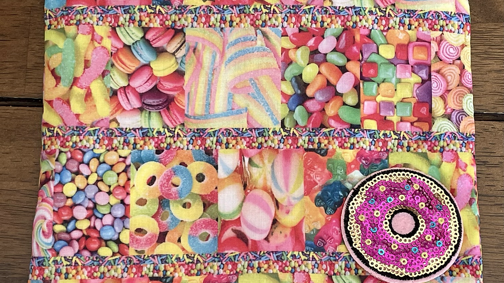 """Sweets and Treats Zipper Pouch with Donut Patch (8.5""""x6.5"""")"""
