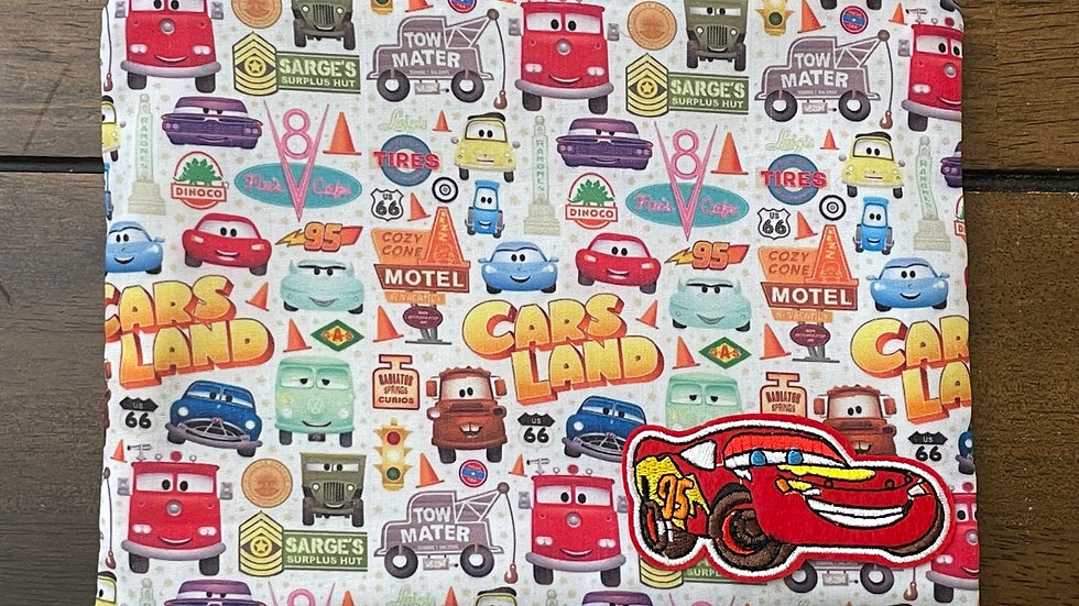 """Cars Land Zipper Pouch with Lightning McQueen Patch (8.5""""x6.5"""")"""