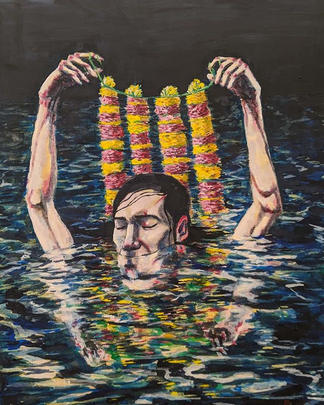 """Swimming With My Garlands"" Acrylic on b"