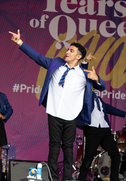 Adam Taylor performing with the cast of Everybody's Talking about Jamie at London Pride 2019