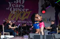 Marisha Wallace and Lucie Jones at London Pride 2019