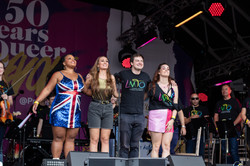 Marisha Wallace, Emma Kingston and Lucie Jones performing with Freddie Tapner and the LMTO at London