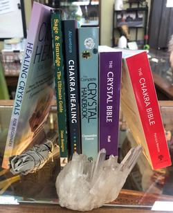 Books, Sage, Crystals