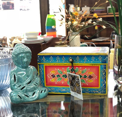 Adorable hand painted wooden box and Bud