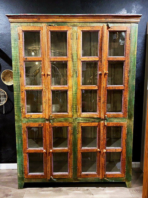 Mexican Rustic Wood + Glass Hutch Cabinet