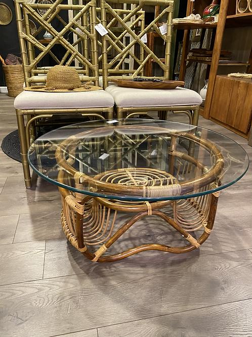 Vintage Rattan + Glass Coffee Table