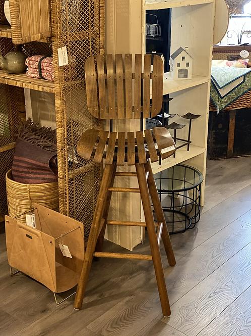 Wooden Slatted Barstool