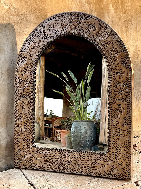 Mexican Pressed Tin Arched Mirror