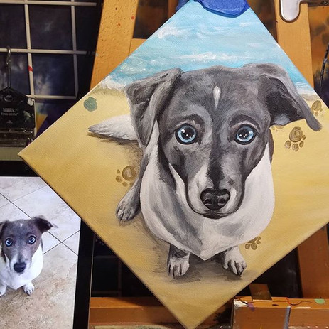 Here's a pupper painting that I did a fe