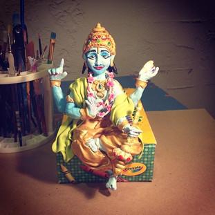Progress on Vishnu. #sculpey #liquitex #