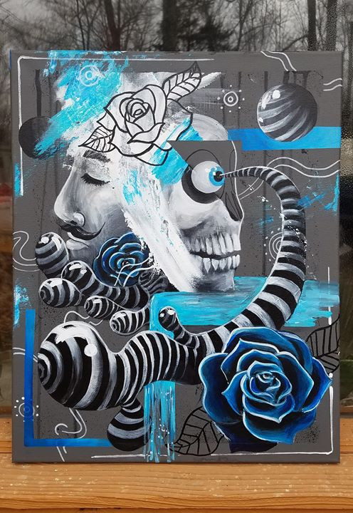 _Blues in Fusion_  acrylic on 16_x20_ ca