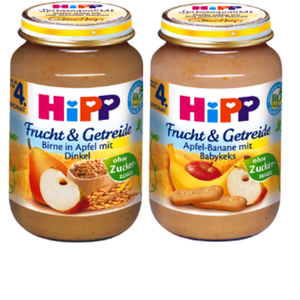 Hipp φρούτα & δημητριακά βιολογικής καλλιέργειας από 4 μηνών 190gr