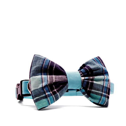 PIPERS' PLAIDS (BLUE) BOUFFANT BOW TIE DOG COLLAR