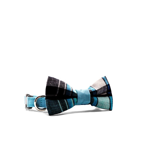 PIPERS' PLAIDS (BLUE) WEEKEND BOY BOW TIE PET COLLAR