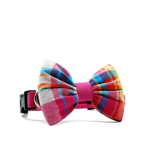 PIPERS' PLAIDS (PINK) BOUFFANT BOW TIE DOG COLLAR