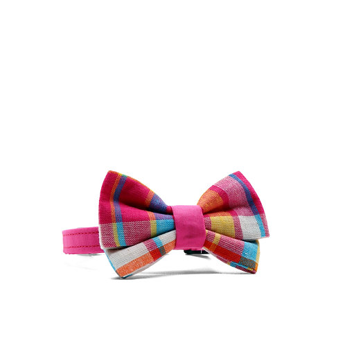 PIPERS' PLAIDS (PINK) WEEKEND GIRL BOW TIE PET COLLAR