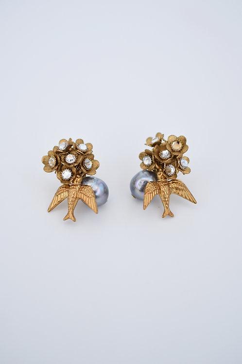 mn-p6 loquat flower and birds petit earring