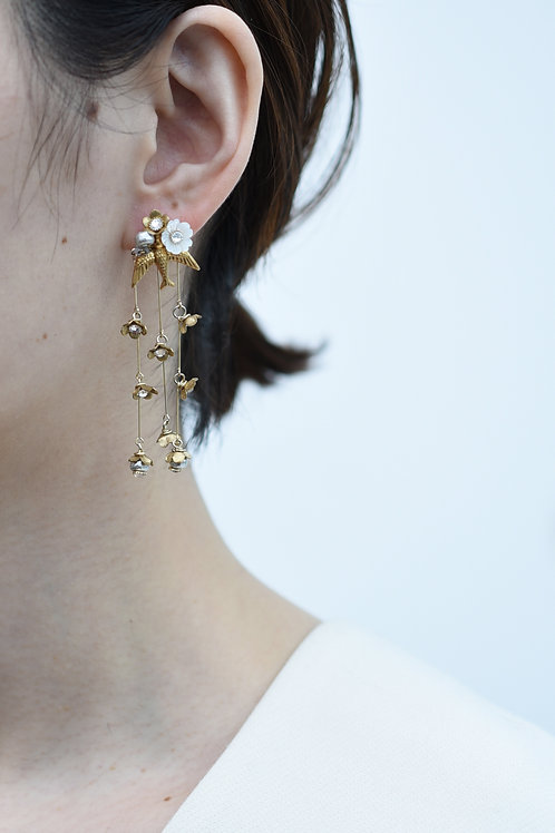 mn-p3 loquat flower and birds chandelier earring