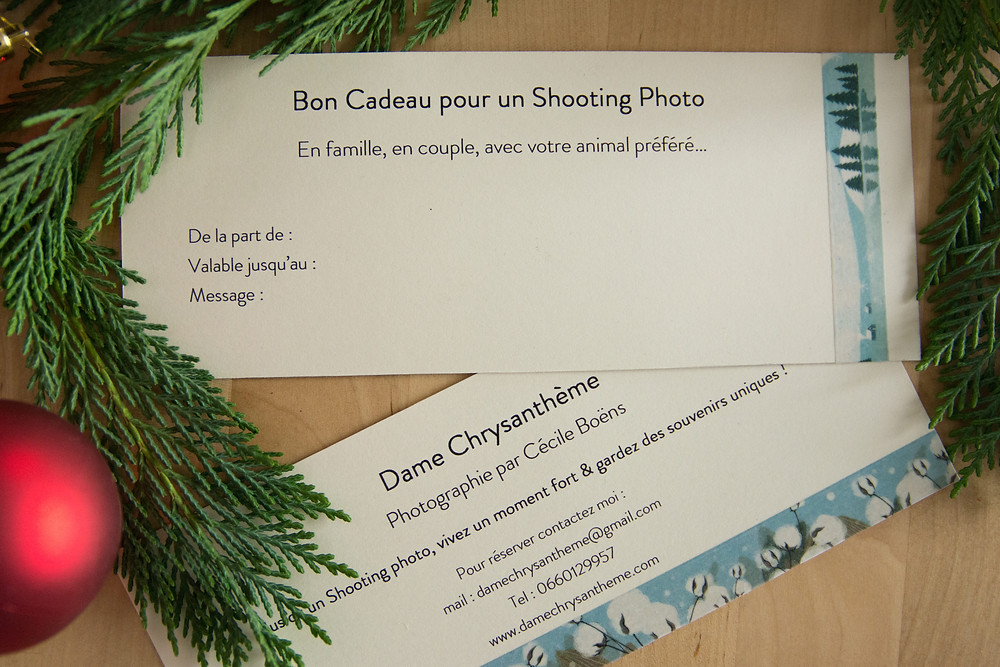 Bon cadeau pour un shooting photo avec décorations de Noel