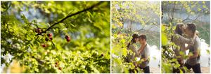 Jeune couple amoureux en pleine nature sur l'ile Barbe, proche de Lyon