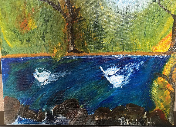 """Swimming Ducks- Original Painting Oil on Stretch Canvas - Size 12""""W x 9""""H."""