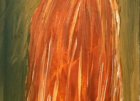 """Hot Vase- Oil On A Classic Canvas- Size 24""""H by 8""""W"""