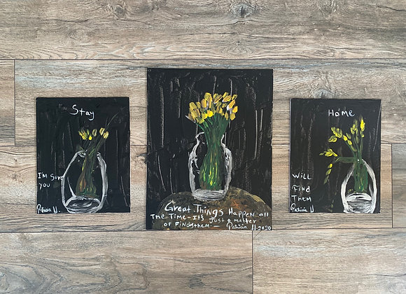 Set of Three Paintings with Positive Quote